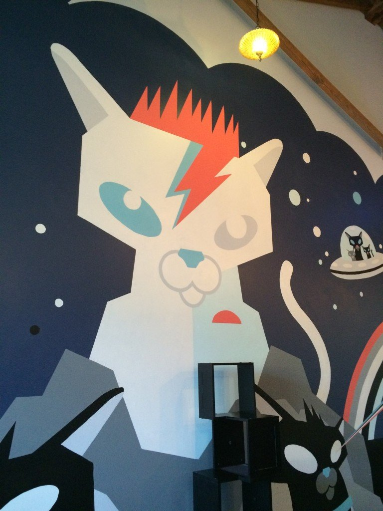 Bowie-Cat mural in Purrington's Cat Lounge. This place is PAWesome!