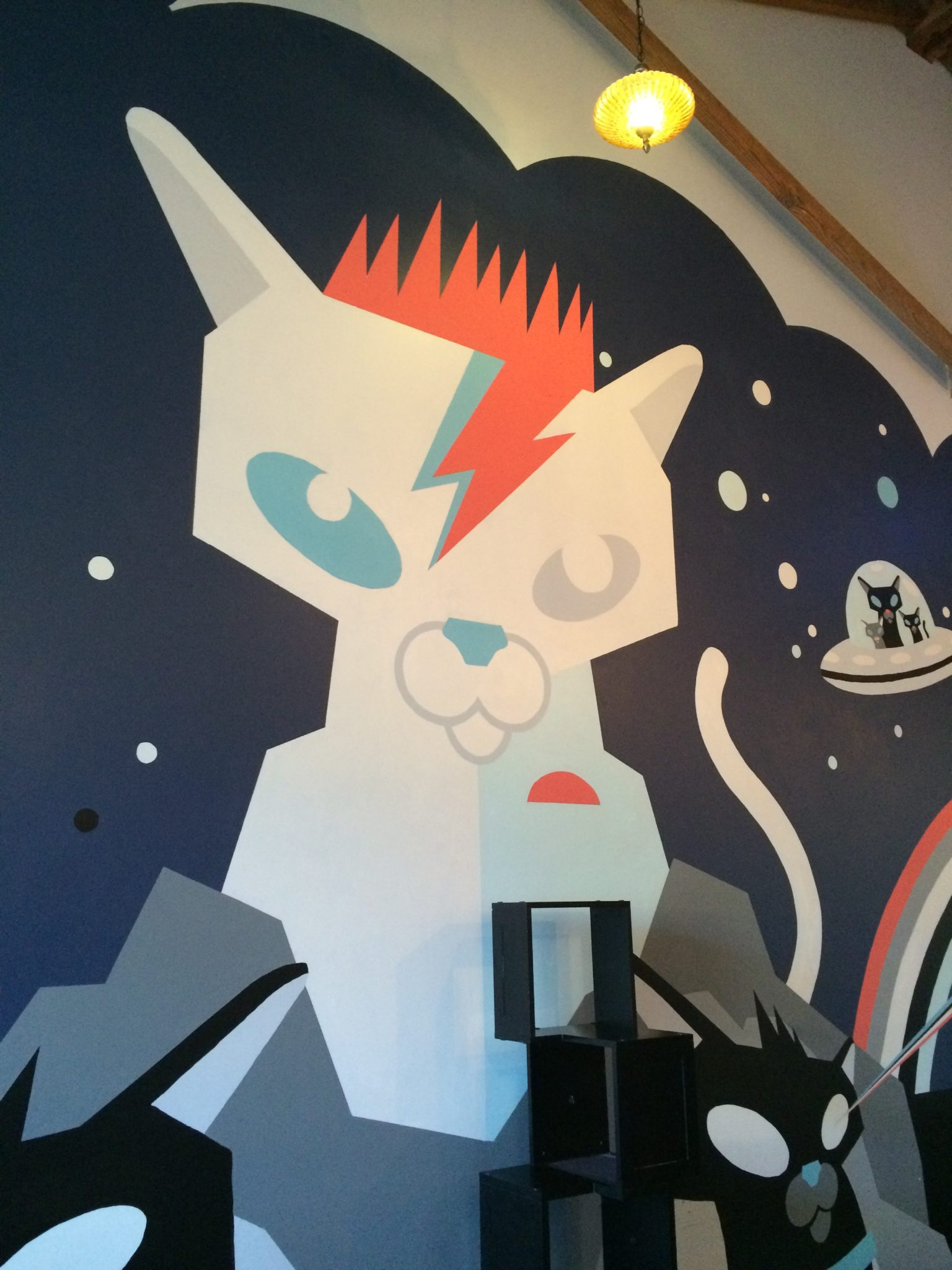 Bowie-Cat Mural at Purringtons