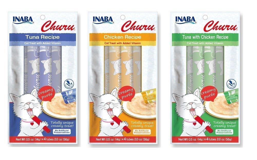 Churu Lickable Puree Cat Treats 3-Pack (12 Tubes) (Inaba) Image